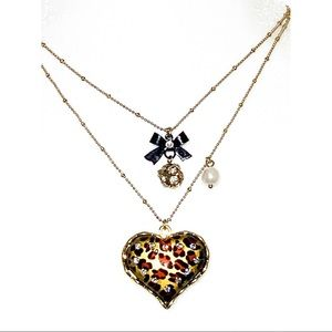 Betsy Johnson Leopard Heart Necklace